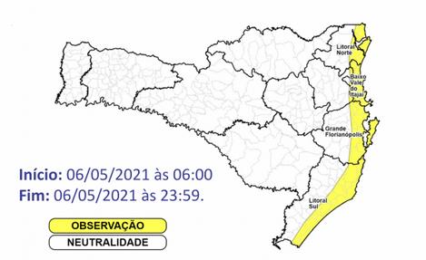 Rajadas de 40km/h a 70kmh podem ser registradas na área em amarelo – Foto: Defesa Civil/Divulgação/ND