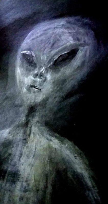 Paula desenhou como seria a aparência do extraterrestre – Foto: CATERS NEWS/Reprodução