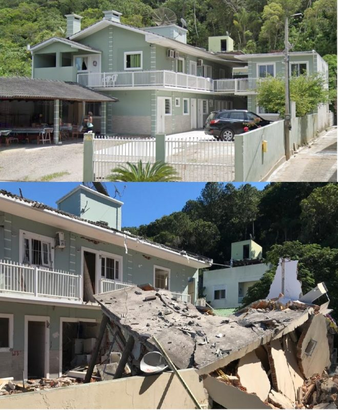 Antes e depois de casa que explodiu em Jurerê – Foto: Reprodução/ND