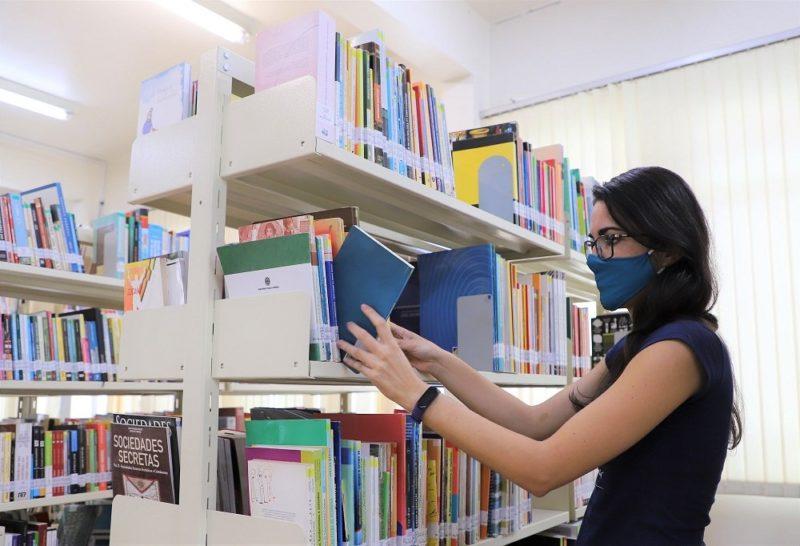 Biblioteca municipal de Biguaçu foi reaberta em janeiro deste ano – Foto: Martha Huff/PMB/Divulgação/ND