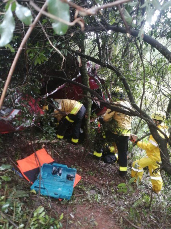 Conforme informações do Corpo de Bombeiros Militar, se envolveram no acidente dois caminhões e uma camionete – Foto: Corpo de Bombeiros/Divulgação/ND