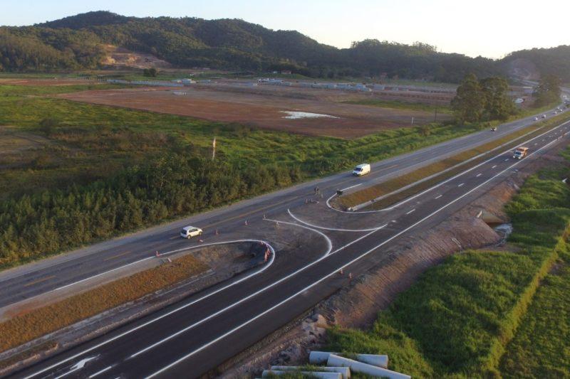 Trecho de duplicação da BR-470 entre Navegantes e Luiz Alves, no Vale do Itajaí – Foto: Divulgação/DNIT