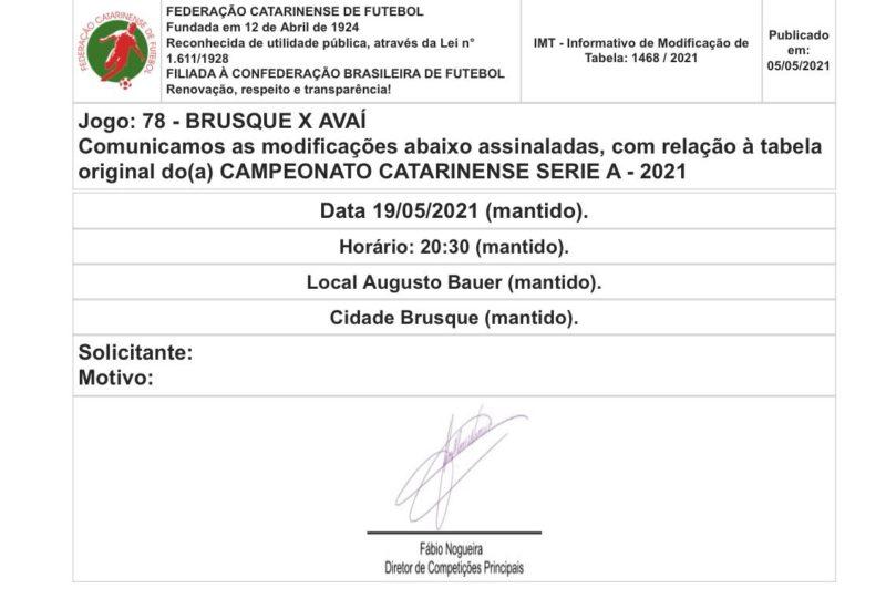 Nova data de Brusque x Avaí pela semifinal do Campeonato Catarinense – Foto: FCF/Reprodução