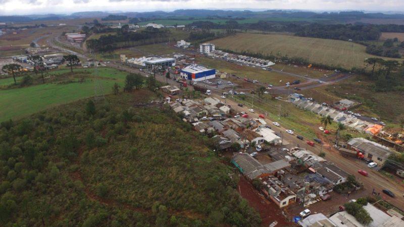 Cerca de 30 empresas também foram afetadas com a passagem do tornado em Campos Novos – Foto: Murilo Milanez/Defesa Civil/Divulgação/ND
