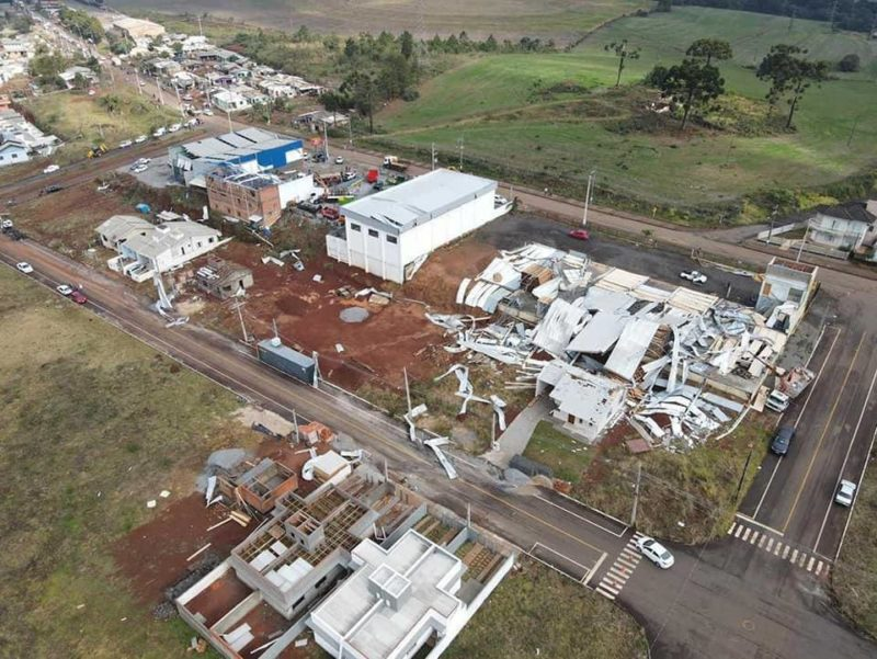 Tornado atingiu Campos Novos na madrugada de sábado (29) – Foto: Defesa Civil/Divulgação/ND