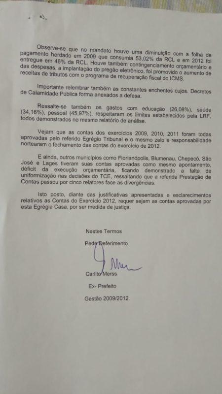 Documento enviado por Carlito Merss à Câmara – Foto: Divulgação