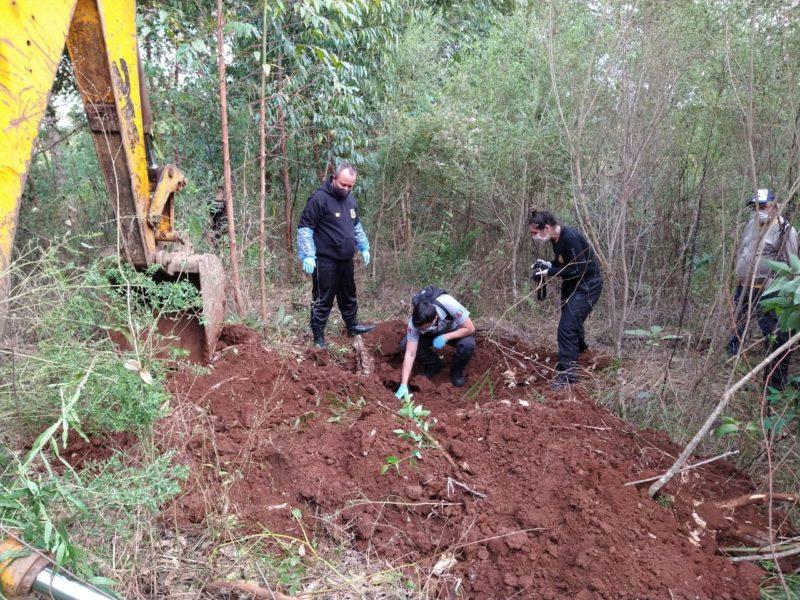 Corpos estavam enterrados em uma comunidade no interior de Chapecó – Foto: Caroline Figueiredo/ND