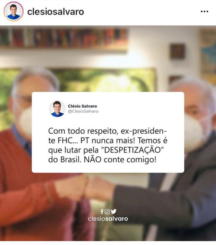 Prefeito de Criciúma que é do PSDB, criticou postura de ex-presidente FHC – Foto: Reprodução/Redes Sociais