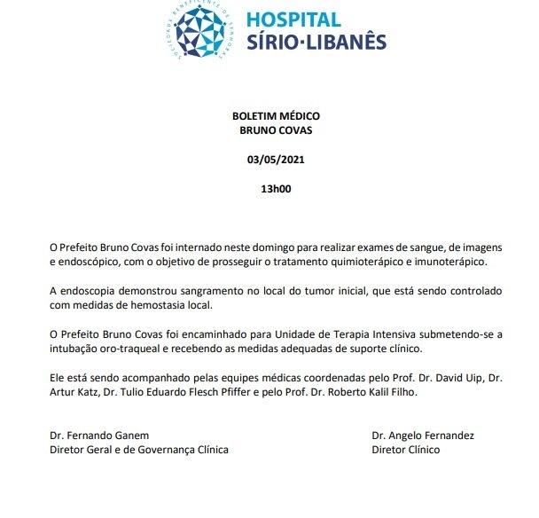 Veja o boletim médico de Bruno Covas. – Foto: Reprodução
