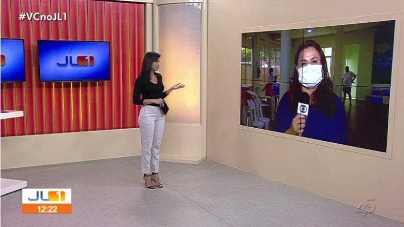 A repórter pediu desligamento da empresa ao encerrar a participação ao vivo – Foto: Reprodução/ND
