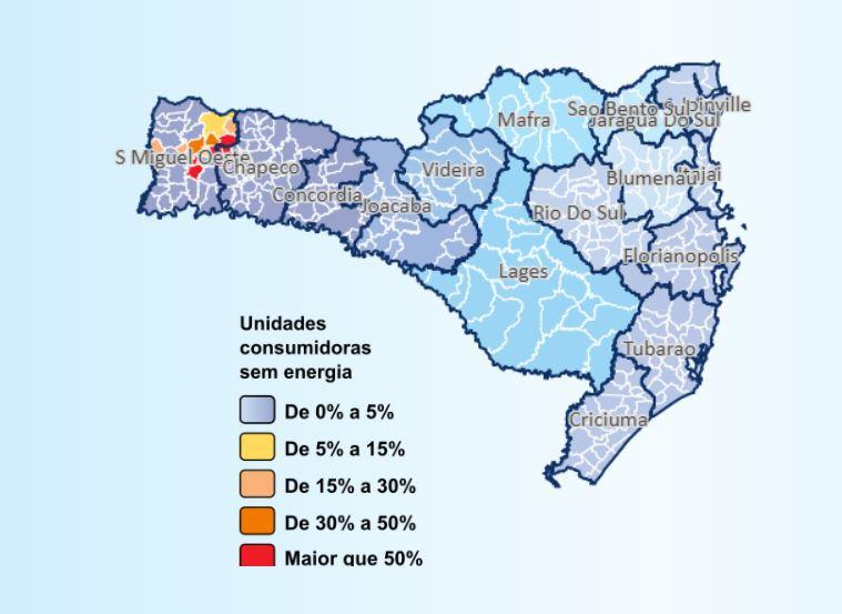 Mapa mostra a situação das cidades por volta das 20h30 – Foto: Celesc/Reprodução/ND