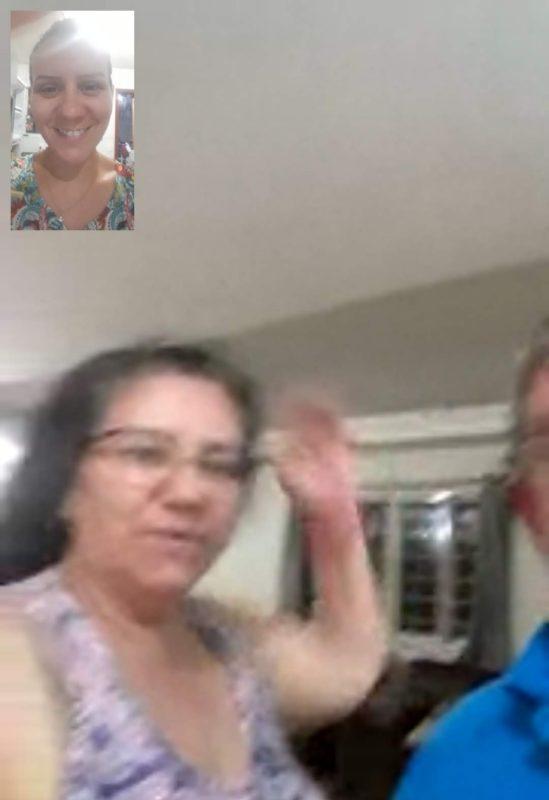 Chamada de vídeo entre mãe e filha – Foto: Arquivo pessoal