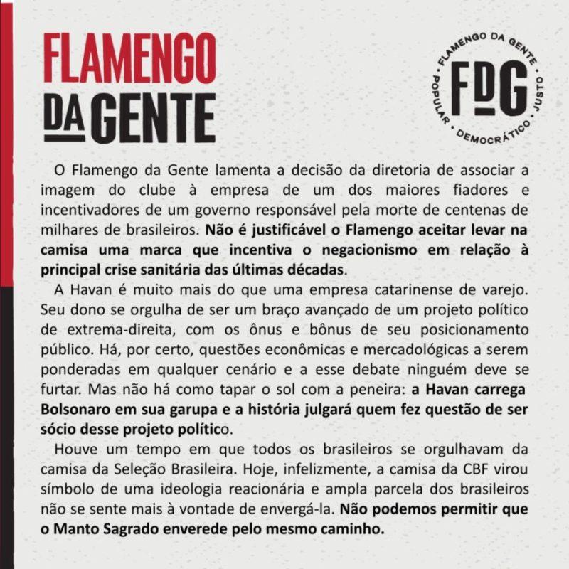 Movimento de torcedores, sócios e conselheiros reprova patrocínio da Havan para o clube carioca – Foto: Reprodução/Redes Sociais
