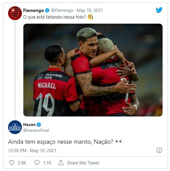 Perfis de Flamengo e Havan deram pistas da nova parceria – Foto: Reprodução/Redes Sociais