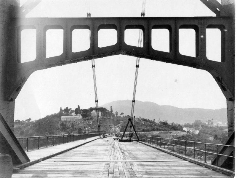 Construção Ponte Hercílio Luz – Foto: Reprodução/ND