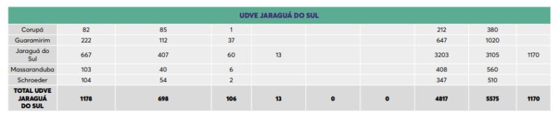 Tabela mostra a quantidade de doses que cada cidade irá receber – Foto: Dive/Divulgação