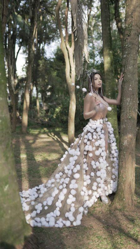 Roupa faz alusão à produção de algodão no Brasil – Foto: João Vitor Cruz/Divulgação/ND