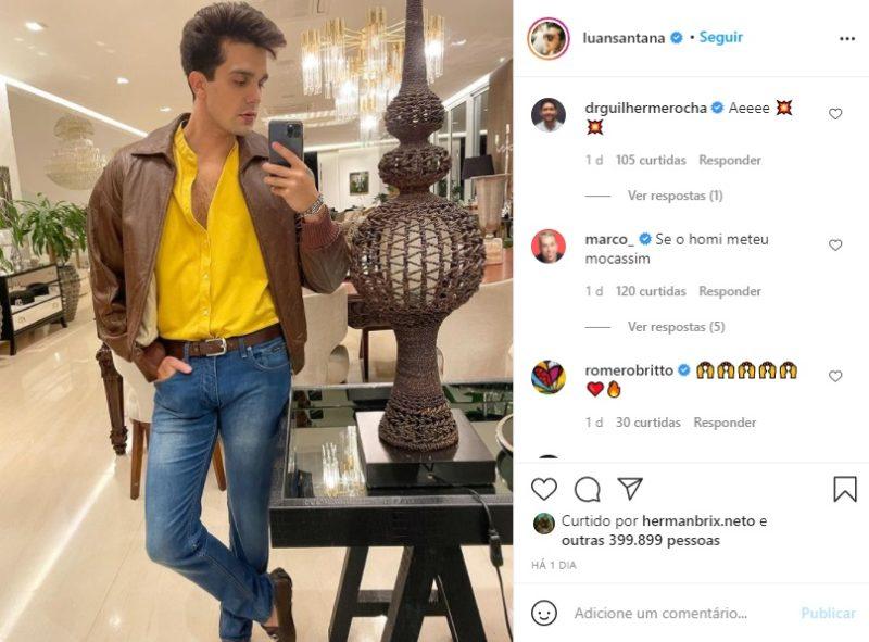 Romero Britto aprovou look de Luan Santana – Foto: Instagram/Reprodução