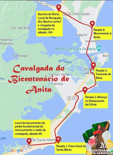 Confira o mapa do percurso da Cavalgada do Bicentenário. – Foto: Divulgação/CulturAnita