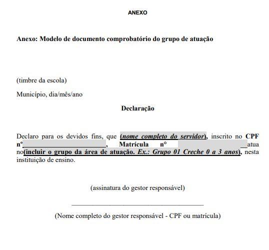 Modelo de atestado de comprovação para a vacinação de professores em Santa Catarina – Foto: Reprodução/Dive