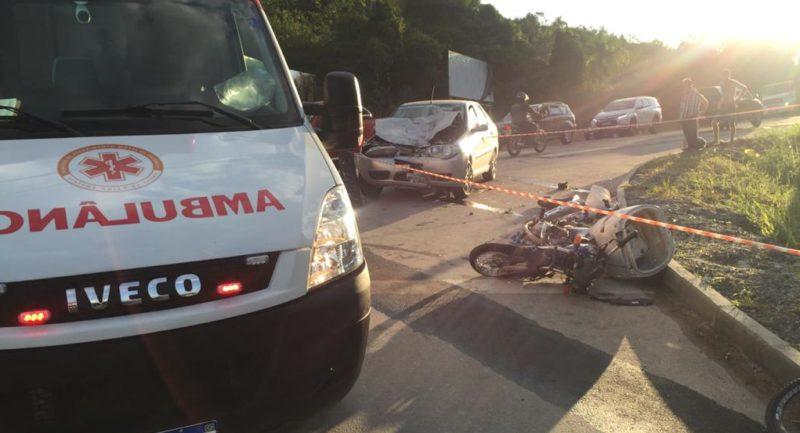 Um motociclista morreu após se envolver em um acidente na tarde desta segunda-feira (17) em Gaspar, no Vale do Itajaí. – Foto: Divulgação/Samu Gaspar