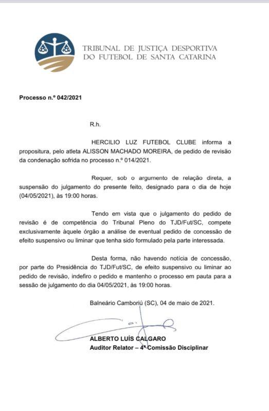 Pedido de suspensão e revisão foi negado para o Hercílio Luz. Julgamento mantido. – Foto: TJD/divulgação