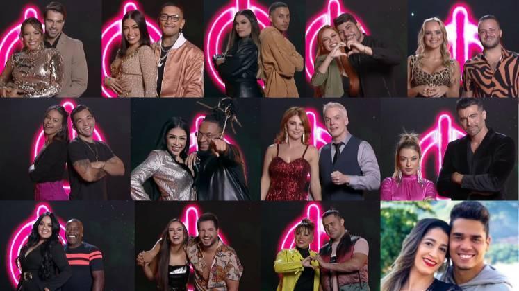 Casais que estão participando da edição 5 do Power Couple – Foto: Divulgação/Record TV