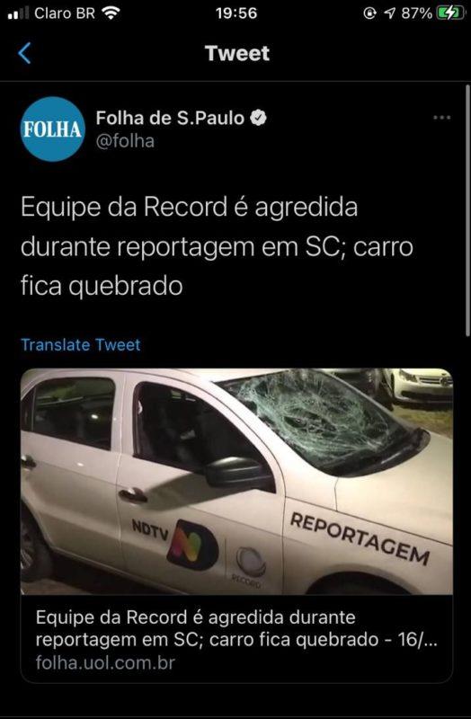 Folha se manifestou contra as agressões – Foto: Folha de São Paulo/Reprodução