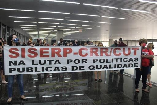 Sindicato de Servidores de Criciúma protesta por falta de reajuste de salários. – Foto: Divulgação