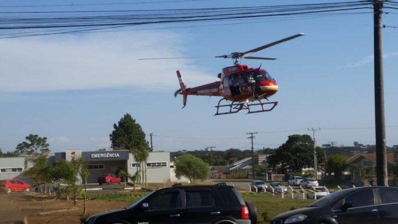 Paciente foi transferido pela aeronave Arcanjo dos bombeiros militares – Foto: Bombeiros Militares/Divulgação