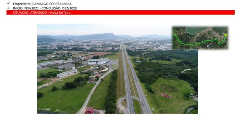 Relatório ilustra o local projetado para ser feito o trevo de acesso e alerta para o fato das obras não terem sido iniciadas – Foto: Divulgação/ND