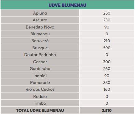 Lista de doses por município na região de Blumenau – Foto: Reprodução/Dive