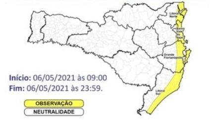 Defesa Civil alerta para rajadas de vento – Foto: Defesa Civil/Divulgação/ND