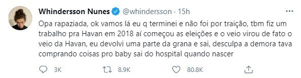 Whindersson Nunes fala sobre término com Luisa Sonza – Foto: REPRODUÇÃO/TWITTER