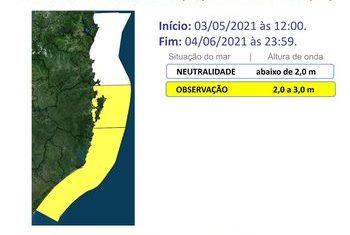 Região está em risco moderado por conta do mar agitado – Foto: Defesa Civil/Divulgação/ND