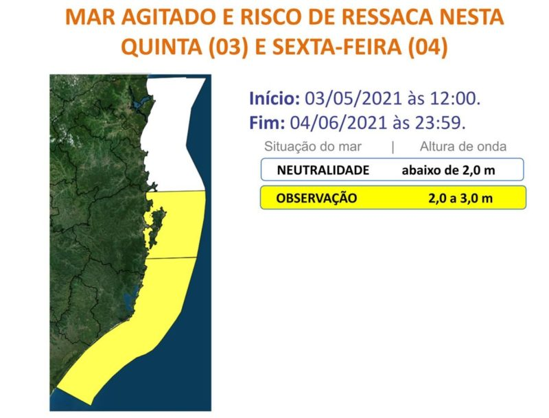 Mar agitado e risco de ressaca em Santa Catarina – Foto: Defesa Civil/Divulgação/ND