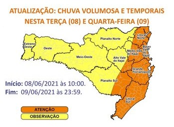 Defesa Civil alerta para chuva intensa e temporais nesta quarta-feira (9) – Foto: Defesa Civil/Divulgação/ND