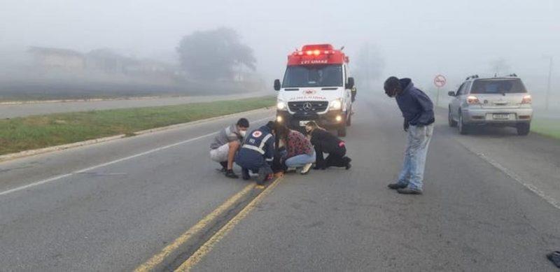 Homem foi atropelado na BR-282 – Foto: PRF/Divulgação