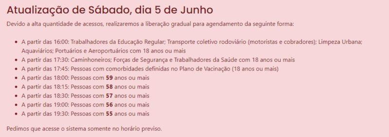 Prefeitura de Joinville fez escalonamento dos horários de vacinação – Foto: Prefeitura de Joinville/Divulgação