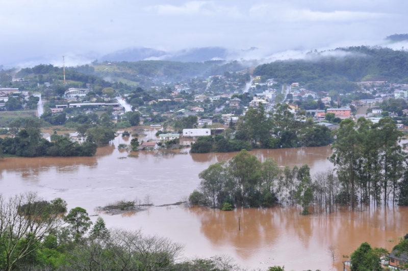 Cidade de Águas de Chapecó foi inundada pelo rio Uruguai – Foto: Prefeitura de Águas de Chapecó/Arquivo/ND