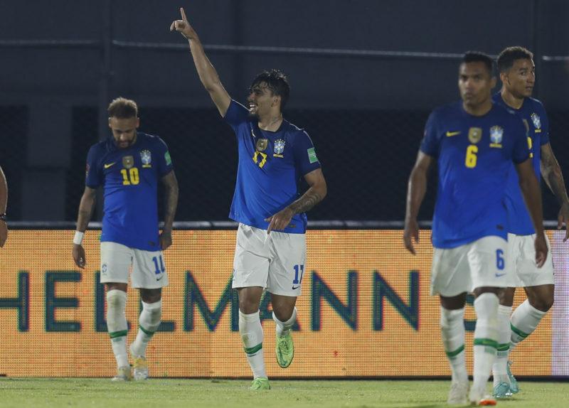 PRY – FUTEBOL/ELIMINATÓRIAS/BRASIL/PARAGUAI – ESPORTES – Lucas Paquetá, do Brasil, comemora seu gol, segundo da equipe marcado diante do Paraguai. – Foto: JORGE SAENZ/ASSOCIATED PRESS/ESTADÃO CONTEÚDO – Foto: ESTADÃO CONTEÚDO/ND