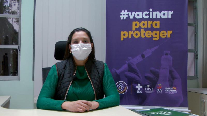 Gerente de imunização da DIVE/SC, Arieli Schiessl Fialho destaca a importância da vacinação – Foto: Divulgação/DIVE/ND