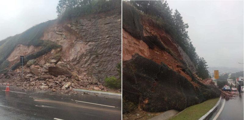 Avenida panorâmica foi interditada após deslizamento – Foto: Camboriú News/Reprodução