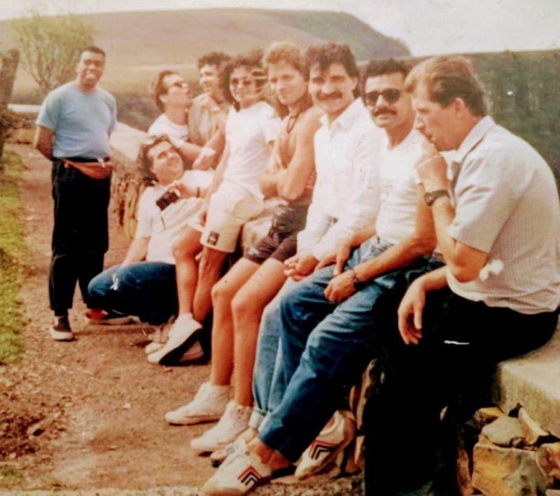 elchior, a banda e o professor Gomes na Serra do Rio do Rastro, na Serra catarinense