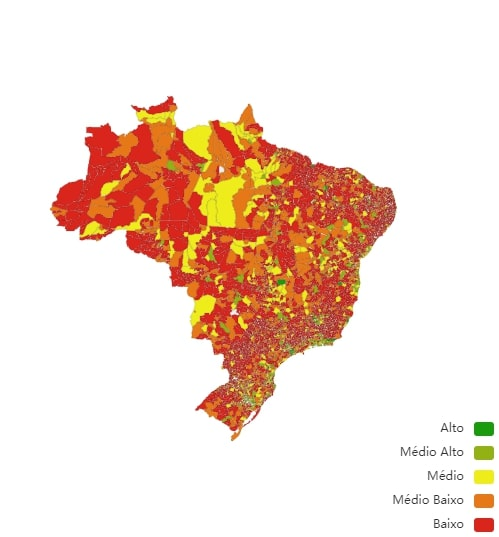 Mapa do IDMS Ambiental brasileiro – Foto: Reprodução/CNM