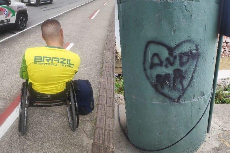 Cadeirante é flagrado pichando ponte de Brusque – Foto: Divulgação/Polícia Militar
