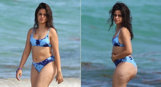 Após fotos tiradas em praia de Miami, Camila Cabello foi atacada na web – Foto: MONTAGEM R7/MEGA/THE GROSBY GROUP