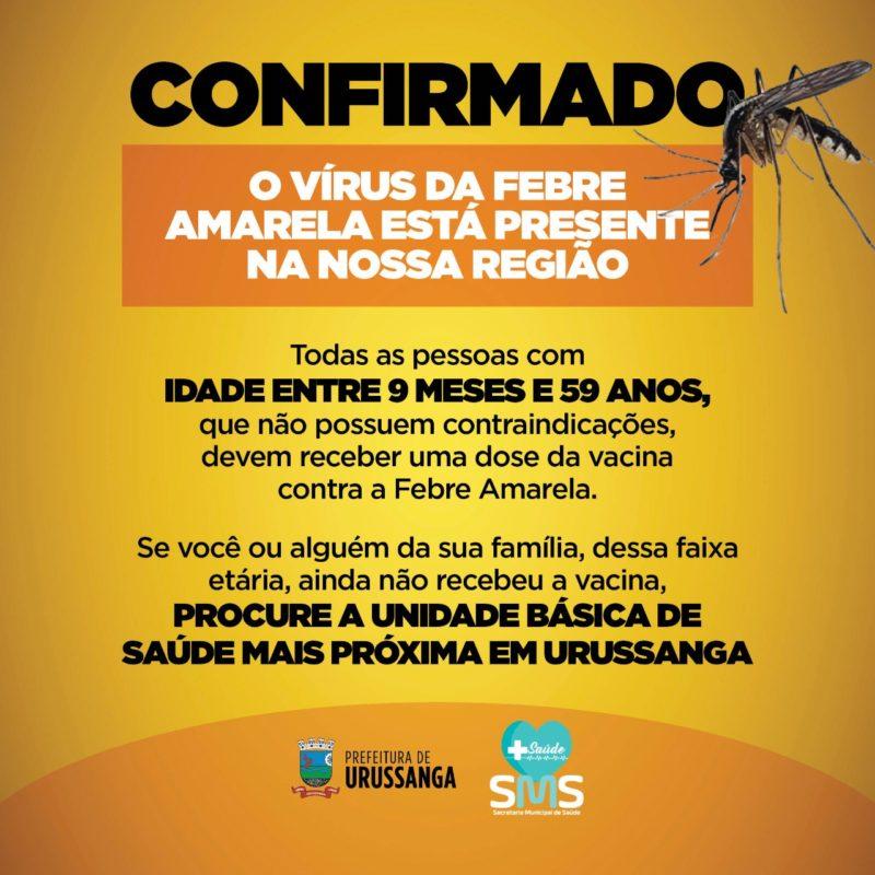 La campaña de vacunación se lanzó esta semana, luego de la confirmación de la presencia del virus de la fiebre amarilla en Urosanga - & # 8211;  Foto: Divulgación / PMU / ND