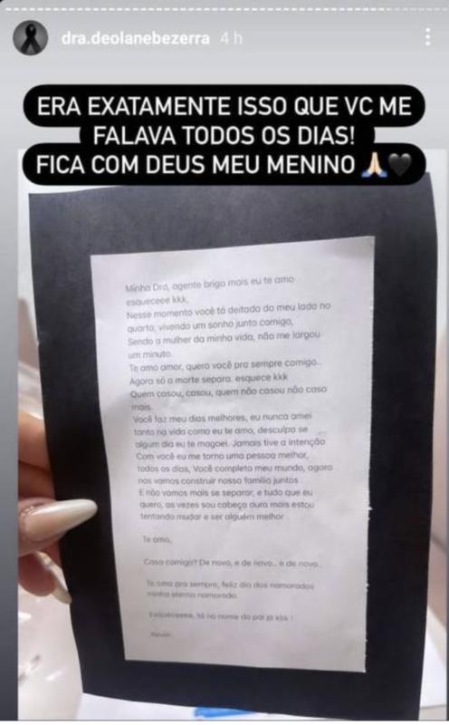 Em post, Deolane mostra a carta com a mensagem de MC Kevin para ela – Foto: Reprodução