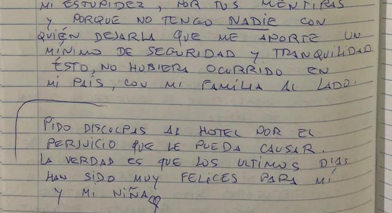 Carta deixada por homem que pulou de quarto de hotel junto com a filha, em São Paulo – Foto: Reprodução